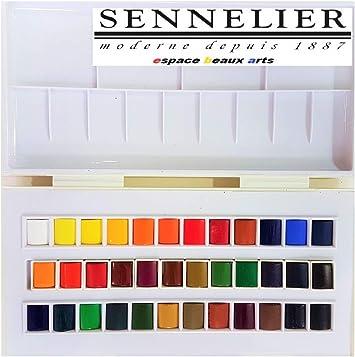 Set studio de acuarela, 36 medio godets,Caja de pintura de acuarela plástica Sennelier,MADE IN FRANCE,ESPACEBEAUXARTS: Amazon.es: Hogar