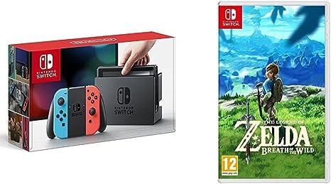 Nintendo Switch - Consola color Azul Neón/Rojo Neón + The Legend Of Zelda: Breath Of The Wild: Amazon.es: Videojuegos