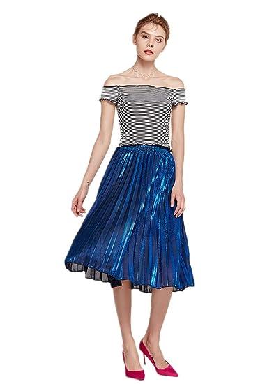 Falda Corta de Mujer - Moda Metalizado Brillante Cintura elástica ...