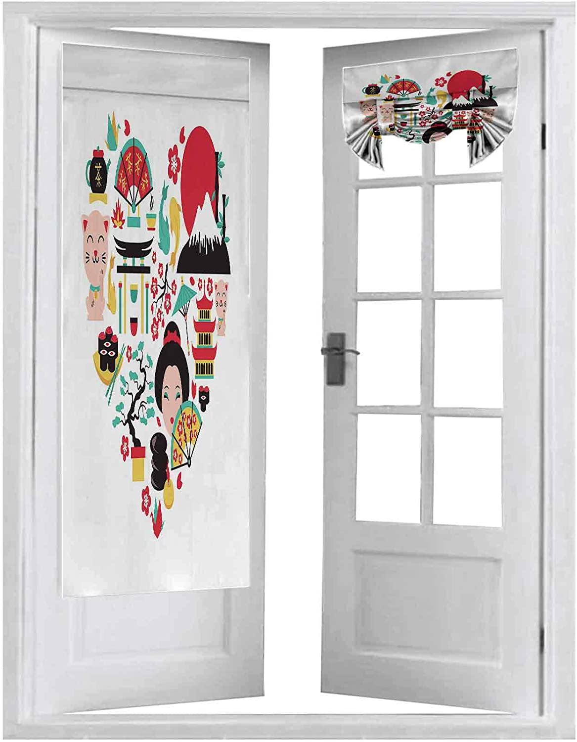 French Door Curtains, Japan Symbols Set in Heart Shape with Traditional Food and Travel Icons Vector Illustratio, 2 Panel-26