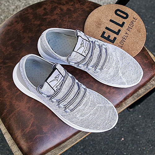 KEEZMZ Men's Running Shoes Fashion Breathable Sneakers Mesh Soft Sole Casual Athletic Lightweight Gray-44