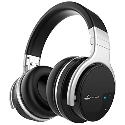 89e16039d3a Meidong E7B Active Noise Cancelling Headphones Wireless Bluetooth Headphones  with Microphone Over Ear 30H Playtime Deep