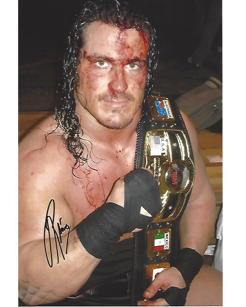 RHINO - PRO WRESTLER Holding NWA BELT - Signed 8x10 Color Photo - Autographed Wrestling Photos Sports Memorabilia