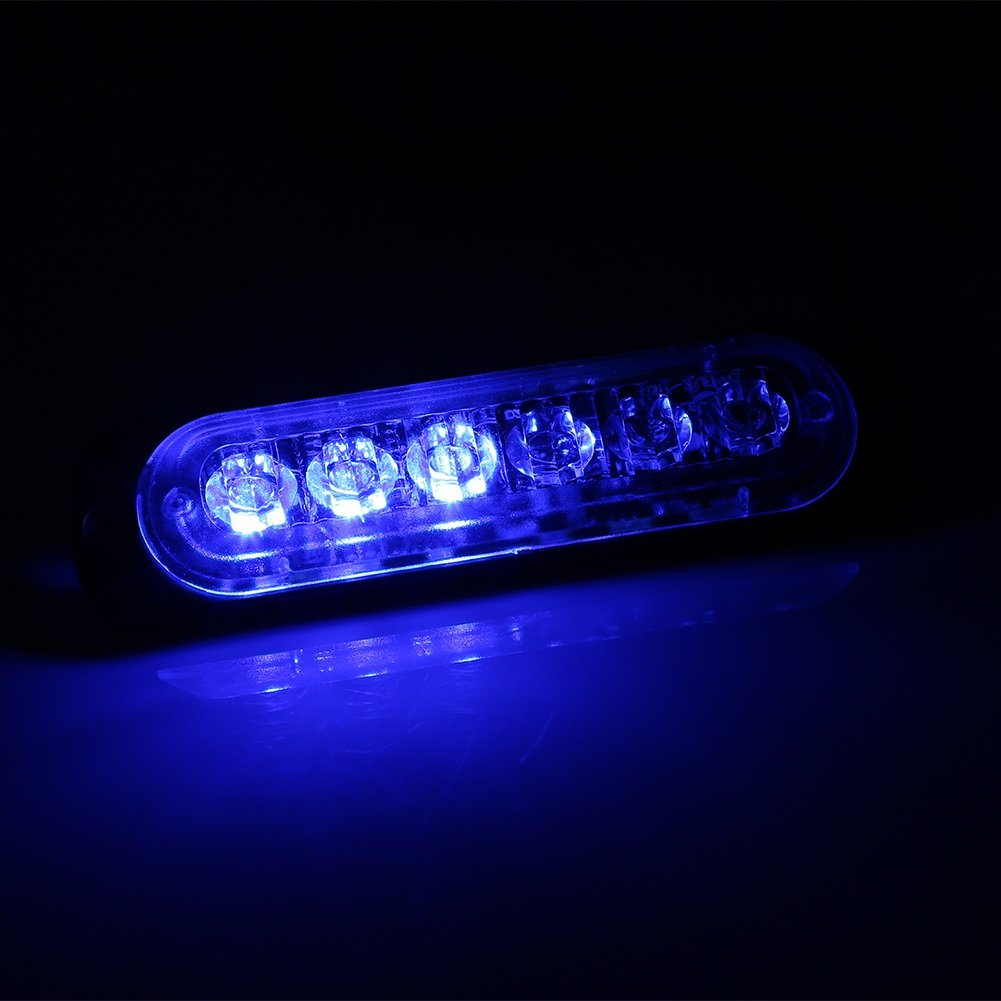 Color : Blue 6 LED Emergency Warning Light Safety Flashers Car Truck SUV Strobe Hazard Flashing Lamp VGEBY 2Pcs Warning Lights