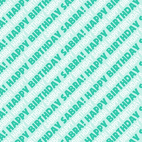 Sabra Happy Birthday Premium Gift Wrap Wrapping Paper Roll   Teal