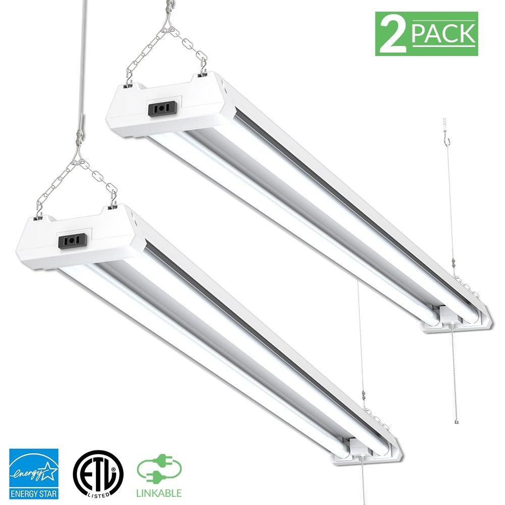 Sunco Lighting 2 PACK - ENERGY STAR, ETL 4ft 40W LED Utility Shop Light 4000lm 260W Equivalent, Double Integrated LED Fixture, 5000K Daylight Ceiling Light, Garage/Basement/Workshop, Linkable, Frosted