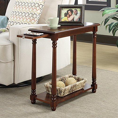 Country Style End Table, Slide Out Tray for Additional Surface Area, Bottom Shelf for Additional Storage, Great Choice for Any Home, Easily Complements the Décor, Mahogany + Expert Guide