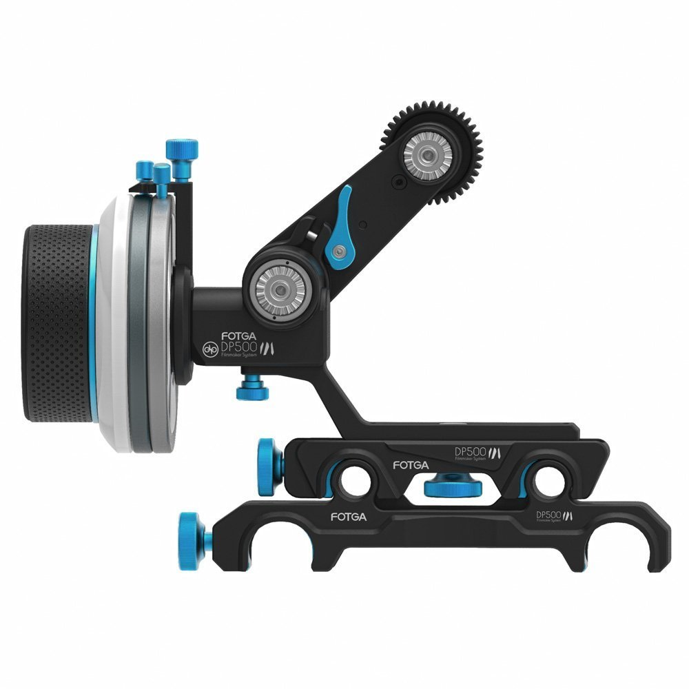 Fotga DP500III Mark III Quick Release Dampen Follow Focus A/B Hard Stop with Swing Rocker Arm for 15mm and 19mm Rods System for Blackmagic BMCC BMPCC 5DIII 5DIV A7R A7S GH3 GH4 D500 by Fotga