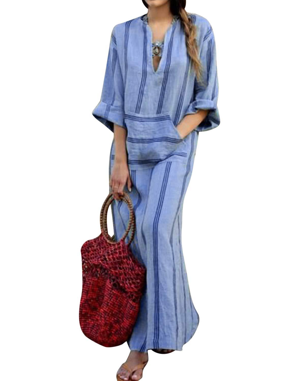 BBYES Women Vintage Loose Striped Long Sleeve Casual Kaftan Boho Maxi Cotton Linen Dresses S-5XL BBYES-2K-PFHI-AMEV