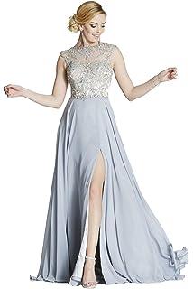 Tiffanys Illusion Prom Silver Sunny Sheer & Crystal Chiffon Gown