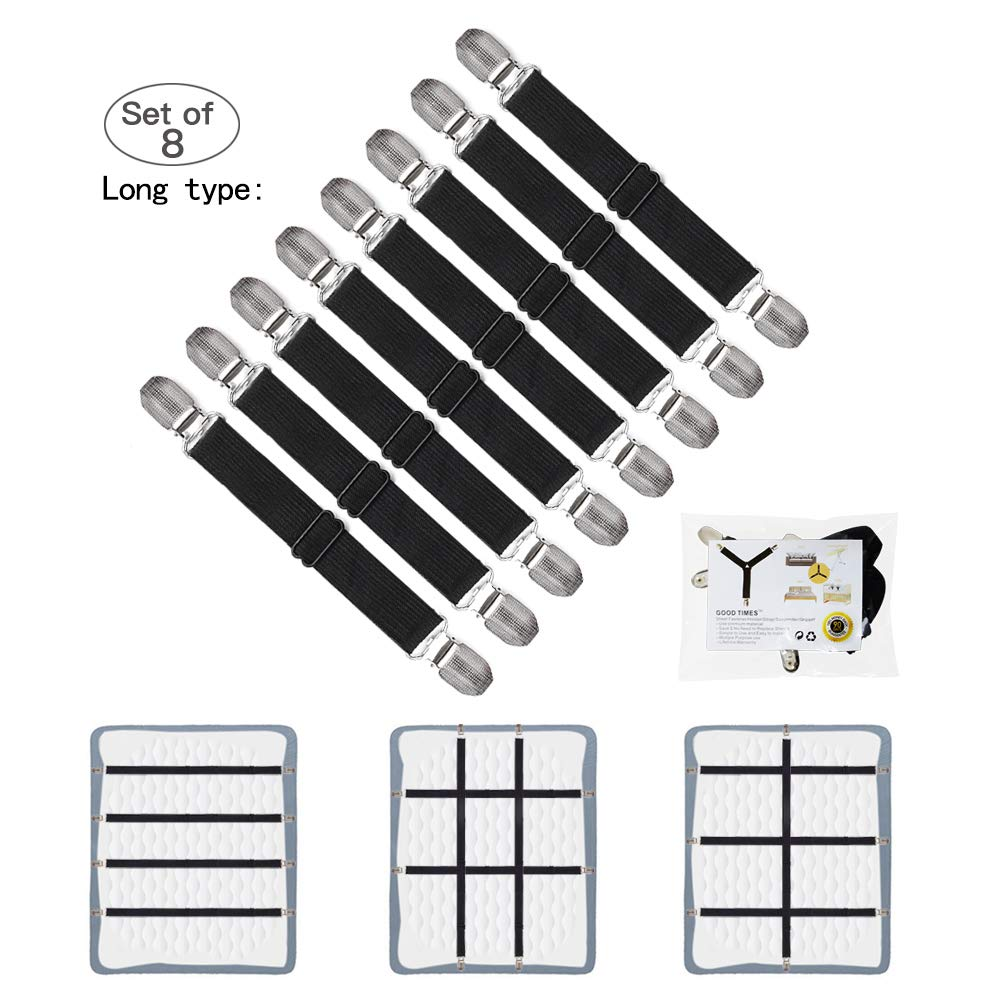 GOODTIMES Bed Sheet Fasteners Suspenders Straps Adjustable Fitted Sheet Bed Clips Grippers Mattress Pad Cover Corner Holders Bands, 4pcs / Set (Long Style) (Black, 8 Pieces- 2 Set) by GOODTIMES