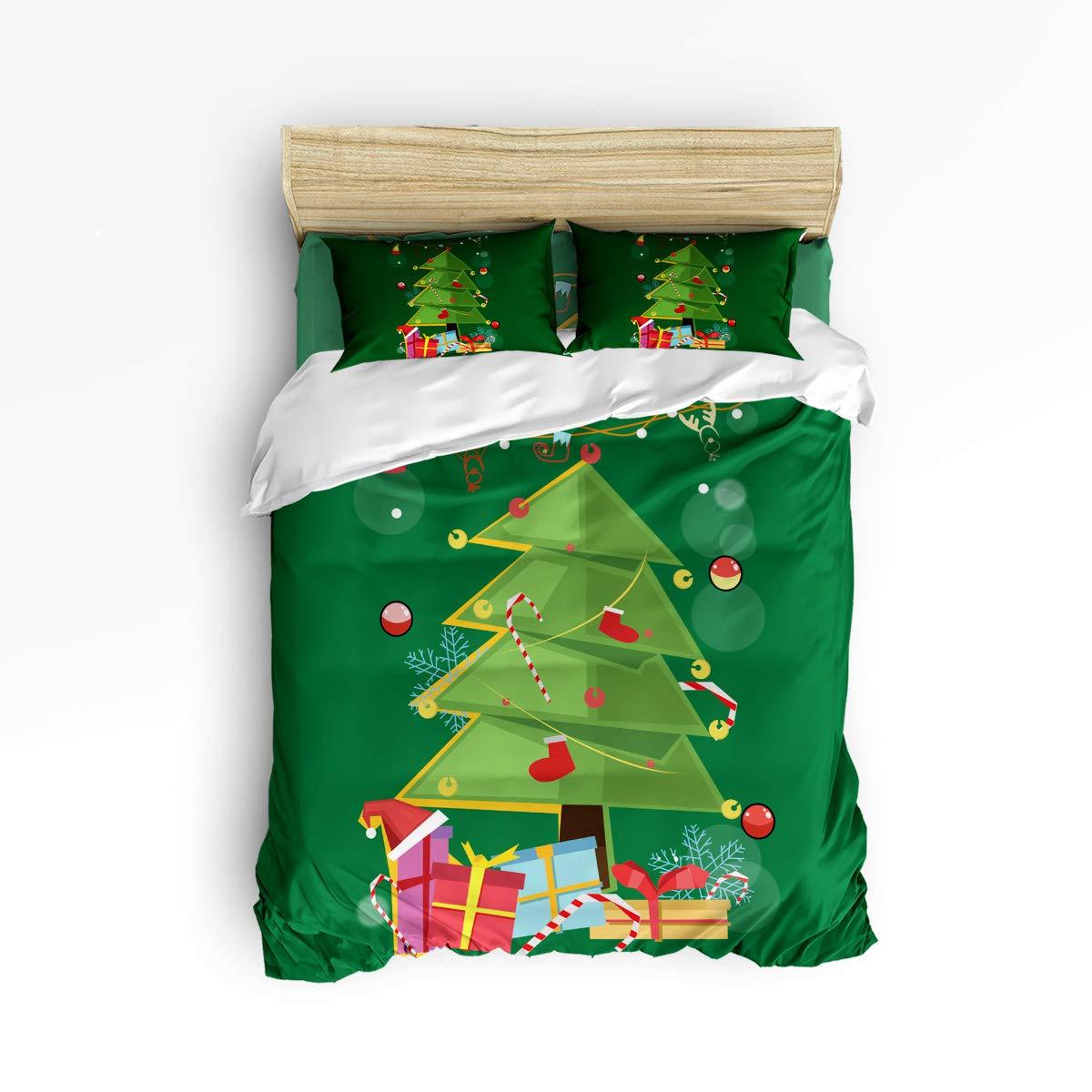クリスマスツリー ホリデープレゼント 寝具セット 4ピース 羽毛布団カバー 新年のお祝い 豪華 ソフト フラットシーツ セット 装飾用枕カバー付き ティーン ガールズ ボーイズ メンズ レディース 子供用 クイーン LFFMARNM11210EWLYX-SWTQ01394SJTCZLH B07KQZX7ZJ Christmas Tree Gift クイーン