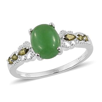 cf50f43b0ed03 Amazon.com: 925 Sterling Silver Green Jade Peridot Cubic Zirconia CZ ...