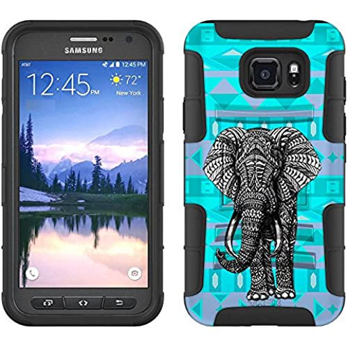 Samsung Galaxy S7 Active Armor Hybrid Case Colorful Elephant on Aztech Andes Mauve and Teal 2 Piece Case with Sales