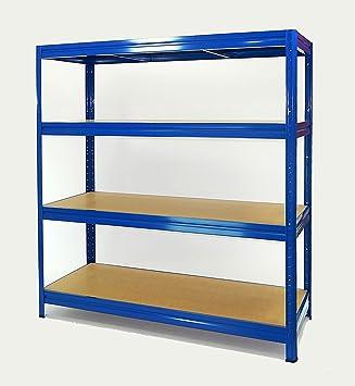 Estantería Metálica Heavy-Rack profesional de 177x160x60 con 4 Pisos Muy Muy Fuerte Azul: Amazon.es: Bricolaje y herramientas