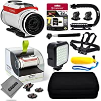 TomTom Bandit 4K Action Camera with 64GB Ultra Memory + Premium Case + Opteka X-Grip + Selfie Stick + Chest Harness Strap + LED Night Light + Floaty Bobber & More
