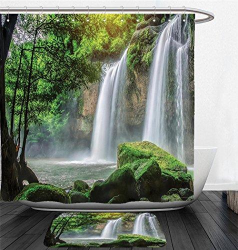 Nalahome Bath Suit: Showercurtain Bathrug Bathtowel Handtowel Waterfall Decor Cascade Stream in Exotic North Asian National Park Paradise Surreal Print White - North Park Macys