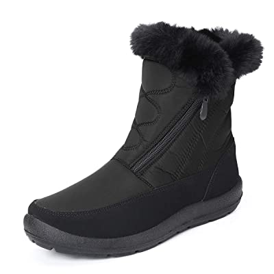 Camfosy Snow Boots for Women Men, Winter Fur Lined Warm Boots Outdoor Comfort Waterproof Ankle Booties Side Zipper Shoes | Snow Boots