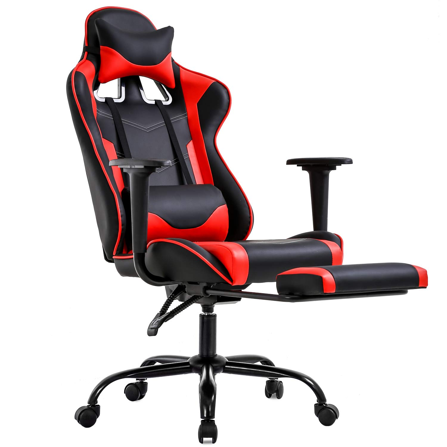 Gaming Chair Office Chair Ergonomic Desk Chair with Footrest Arms Lumbar Support Headrest Swivel Rolling High Back Racing Computer Chair for Women Men Adults Girls,Red by BestOffice