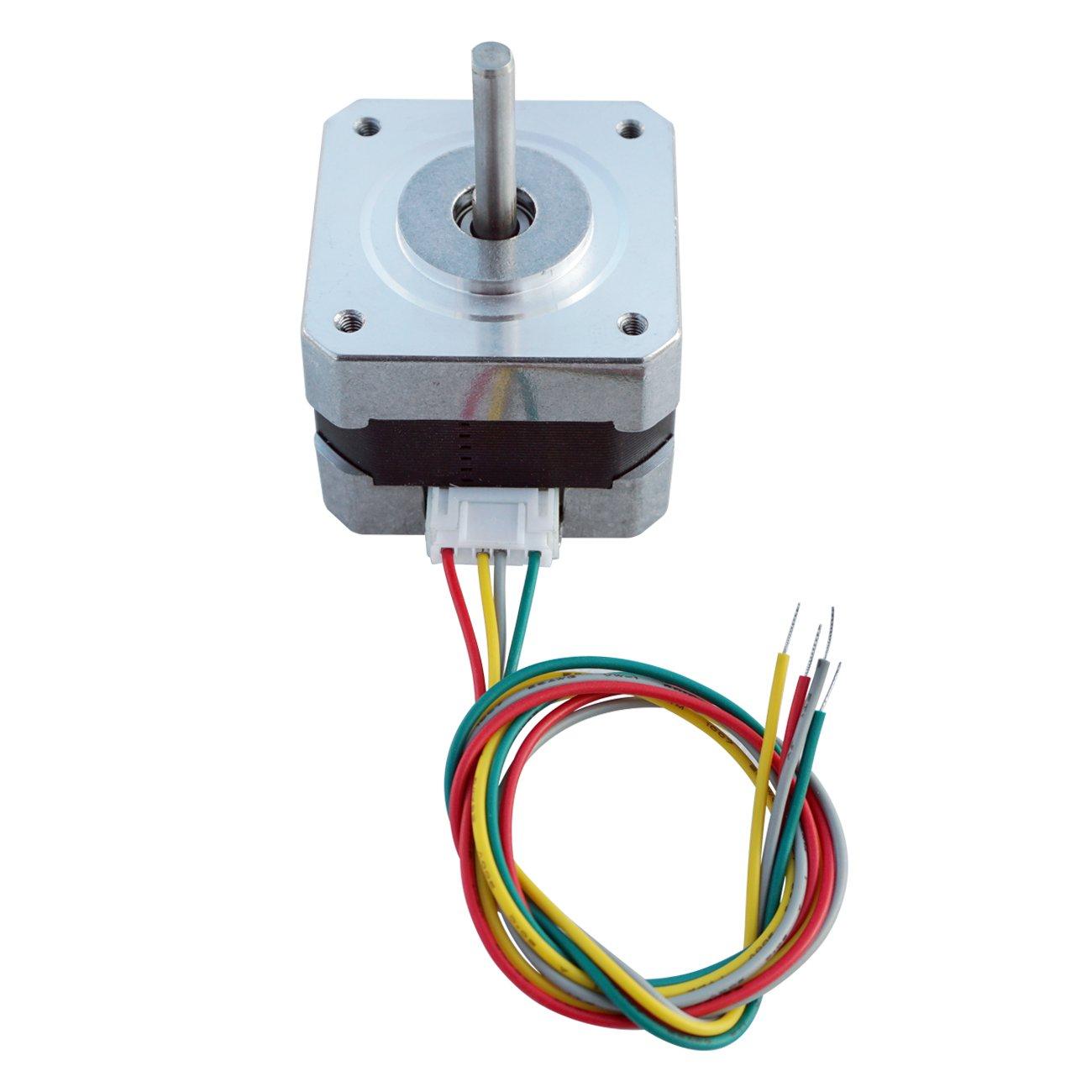 ECO-WORTHY 5 PCS Nema 17 12V High Torque Stepper Motors Kits 26Ncm 0.4A Draw DIY CNC