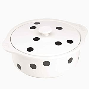 KATE SPADE Deco Dot Covered Casserole, 6.65 LB, White