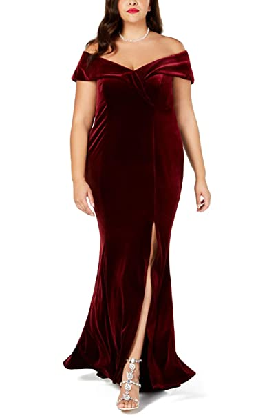 FUSENFENG Womens Plus Size Off The Shoulder Velvet Formal Party Maxi Dress  Evening Gown