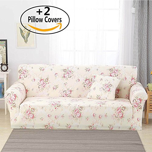 "iisutas Stretch Couch Covers Loveseat Slipcovers Fitted Cover Seat Furniture Protector With Two Pillow Case (54""-70"" Loveseat, Garden City) from iisutas"