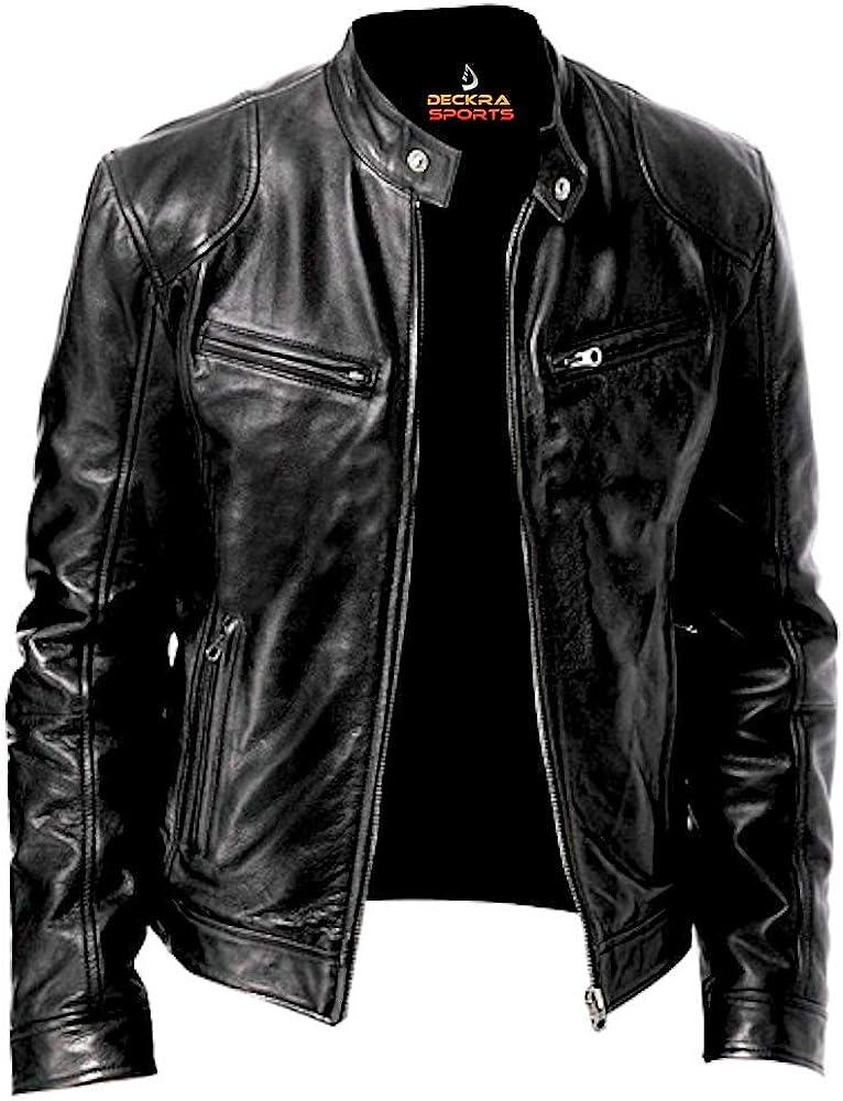 Mens Genuine Leather Jacket Cowhide Motorbike Motorcycle Moto-Jacket Real Leather Black