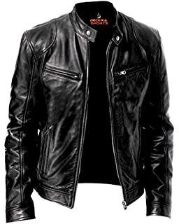 Mens Leather Jackets Motorcycle Bomber Biker Genuine Lambskin 206