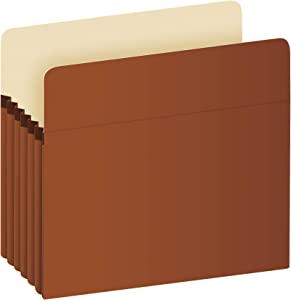 """Pendaflex Expanding File Pockets, Letter Size, 5.25"""" Expansion, Reinforced with DuPont Tyvek Material, Letter Size, Redrope, 10 Per Box (1534G-OX)"""