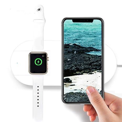 JINM - Cargador inalámbrico para Apple Watch, Qi-standard 2 en 1 para Apple Watch Cargador para iPhone X/8/8 Plus y para Apple Watch, para Samsung ...
