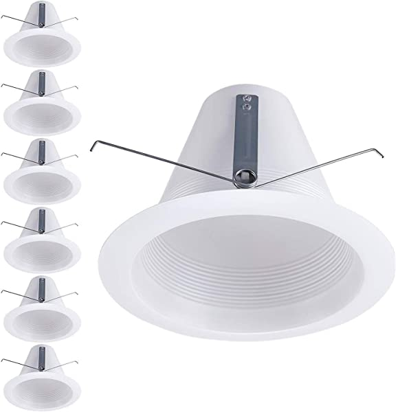 PROCURU 5 White Baffle Metal Trim for Recessed Can Light Replaces Halo 5001P 6-Pack - Compatible with LED White CFL Incandescent Halogen Bulbs 6-Pack