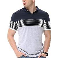 fanideaz Mens Cotton Half Sleeve Striped Polo T Shirt with Collar Grey