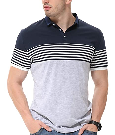 b78fef56b9f4d fanideaz Men s Cotton Stripe Polo Collar T-Shirts (Grey Melange ...
