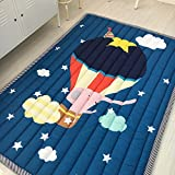BuLuTu Rugs Cotton Hot Air Balloon Print Travel Baby Area Rugs Thick Kids Play Mat Indoor Navy Blue For Living Room Bedroom Décor,55''×79''