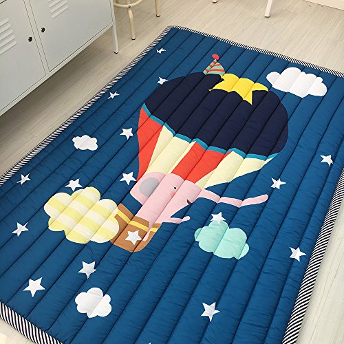 BuLuTu Rugs Cotton Hot Air Balloon Print Travel Baby Area Rugs Thick Kids Play Mat Indoor Navy Blue For Living Room Bedroom Décor,55''×79'' by BuLuTu