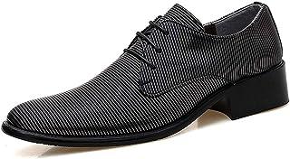 YAN Chaussures pour Hommes Formelles, Bloc Talon Automne et Hiver Smart Casual Occasionnels à Lacets Pointus Chaussures en Cuir de Mariage Prom Office Classic (Couleur : B, Taille : 44)