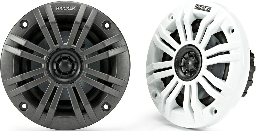 Kicker KM4 4-Inch (100mm) Marine Coaxial Speakers with 1/2-Inch (13mm) Tweeters, 4-Ohm, Charcoal and White Grilles 45KM44