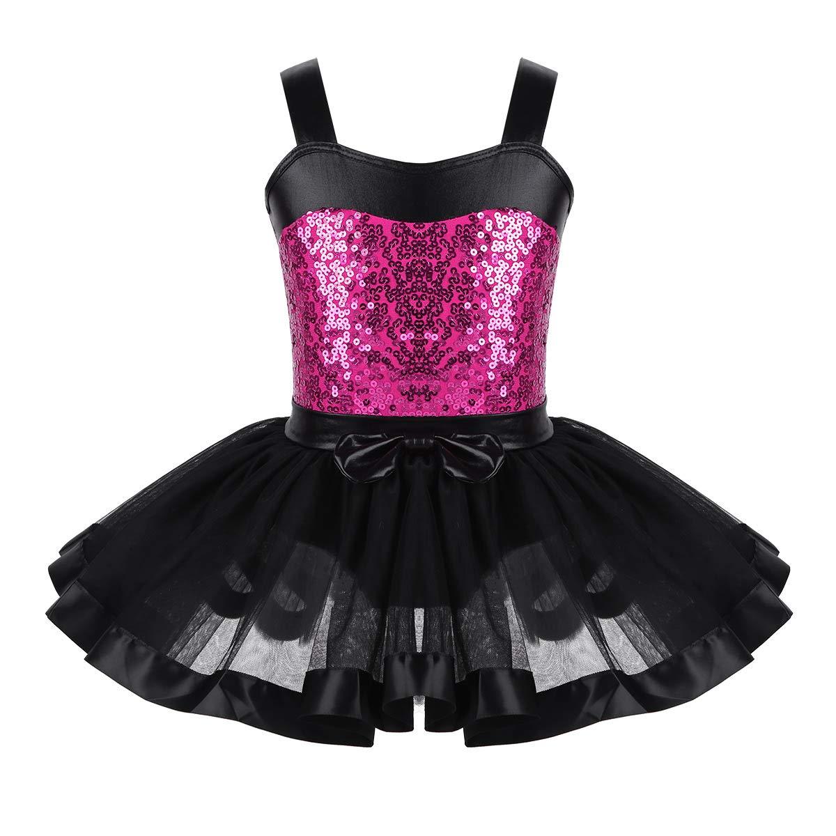 CHICTRY Girls Kids Basic Team Short Sleeved Wrap-Around Skirt Leotard Dance Ballet Tutu Dress