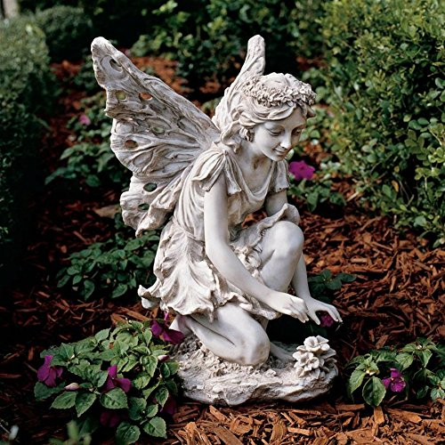 Design Toscano KY71004 Fiona The Flower Fairy Garden Statue, 17 Inch, Antique Stone