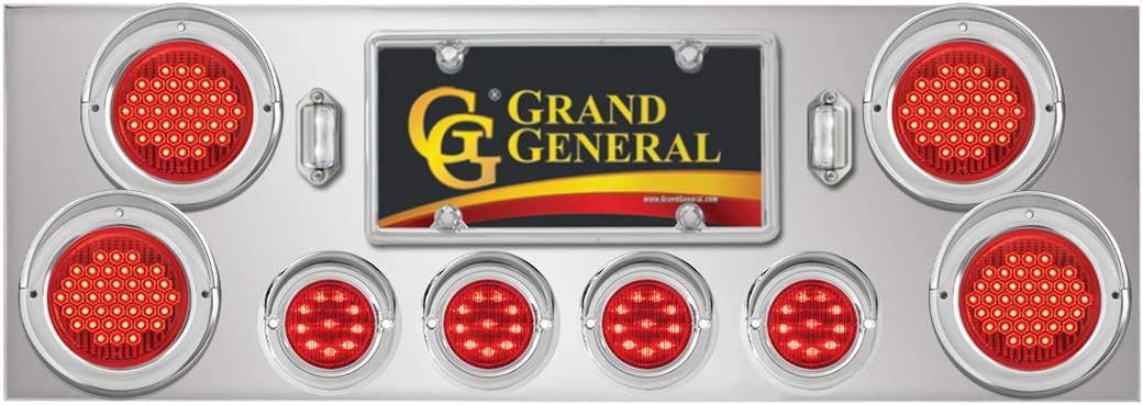 GG Grand General 91914 Stainless Steel Rear Light Panel /& Cover with 4-4 Inches and 4-2 Inches Red LED Light