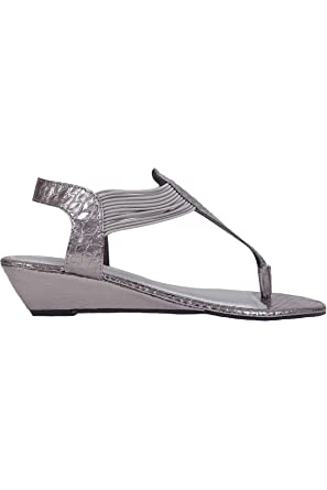 04eccf59a79 Wide Fit Women s Snake Print Wedge Elasticated Toe Post Sandal In Eee Fit  Size 10EEE Silver