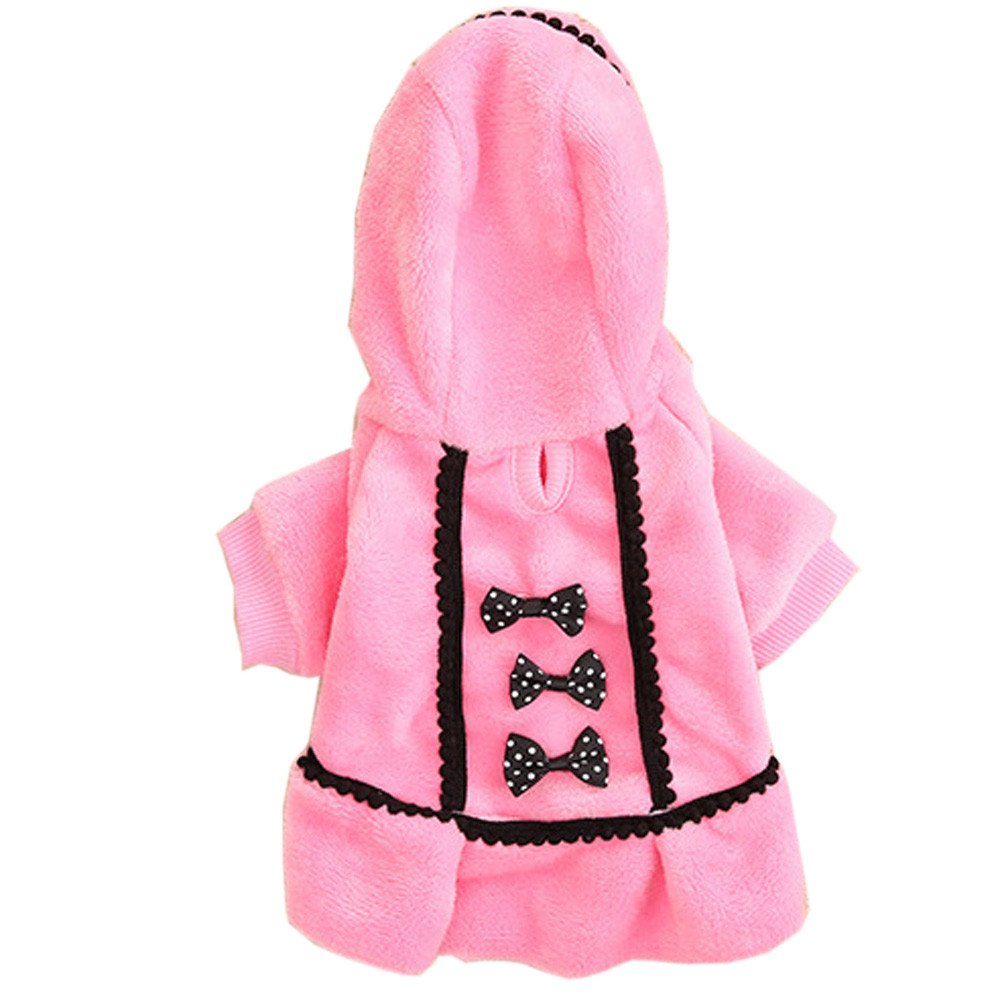 BingYELH Winter Pet Dog Jumpsuit Bow Knot Hoodie Coat Pajamas Doggie Thick Outfits Sweatshirts Clothes Apparels