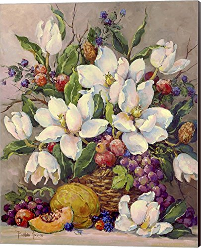 Fruit and Magnolias by Barbara Mock Canvas Art Wall Picture, Museum Wrapped with Espresso Sides, 16 x 20 inches