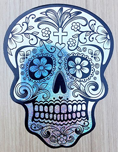 Osmdecals deluxe silver holographic mexican sugar skull hologram stickers version 117 day of the
