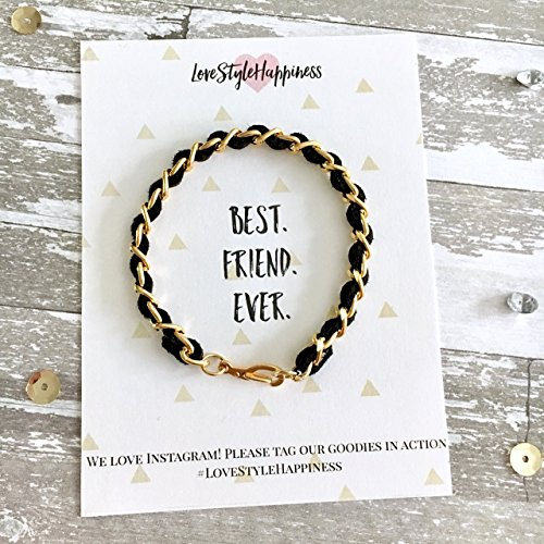 (Chain Bracelet, Suede woven chain bracelet,Friendship Bracelet, Best Friend Card)