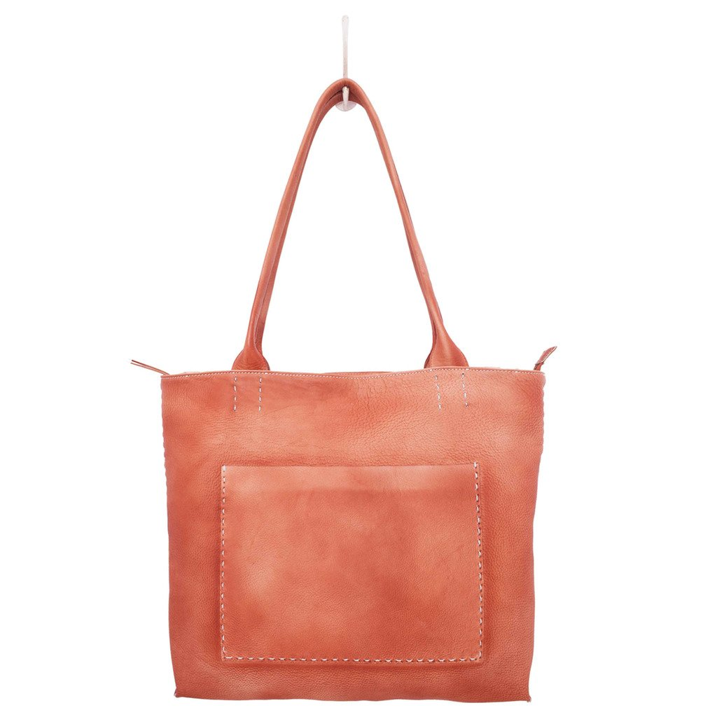 Latico Leathers Sonia Tote Genuine Authentic Luxury Leather, Designer Made, Business Fashion and Casual Wear, Washed Red