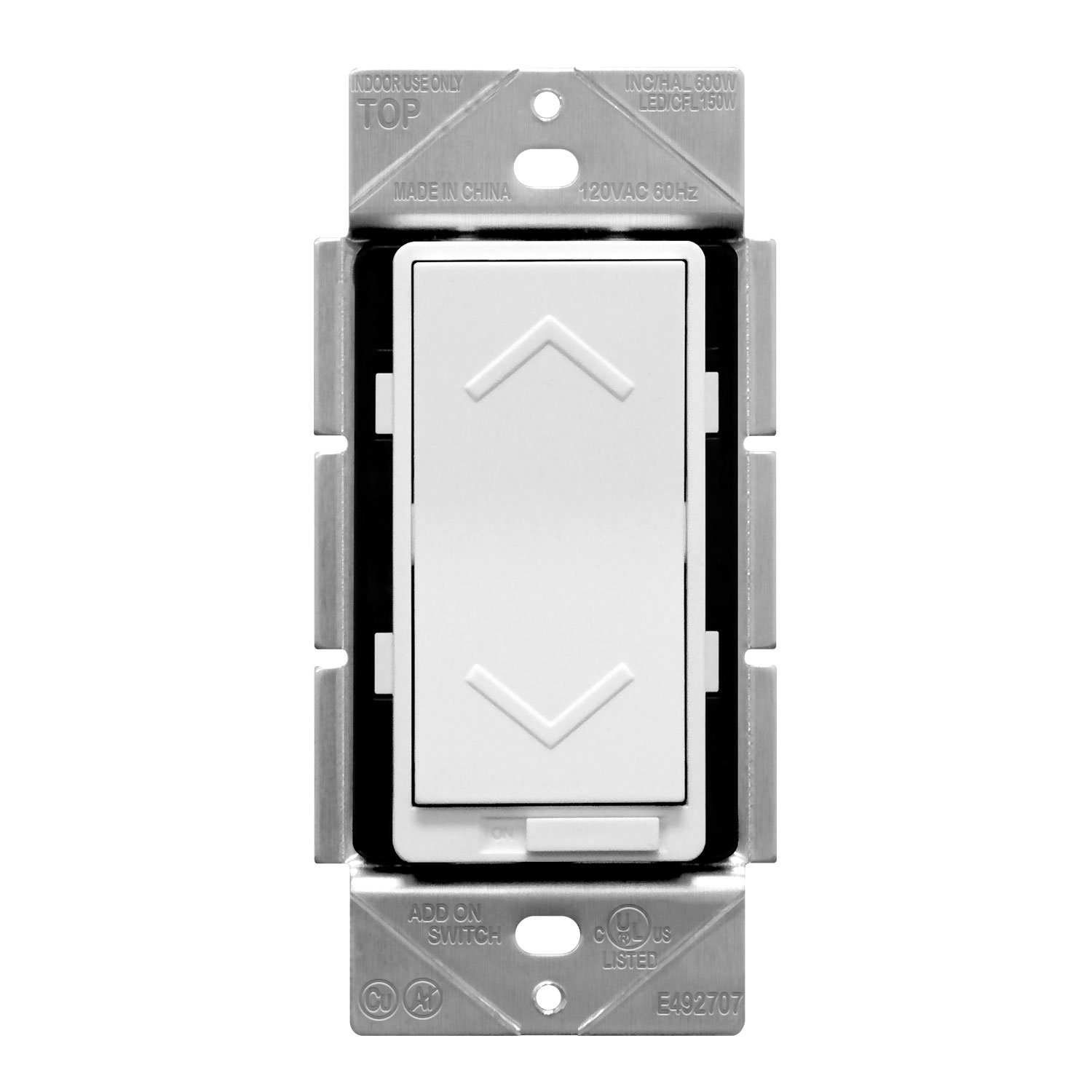 TOPGREENER TGDS-120 120V Dimmer Rocker Switch for LED/CFL, Incandescent/Halogen and Fluorescent | Single-pole, 3-Way, Air-Gap, Neutral Wire Required | White