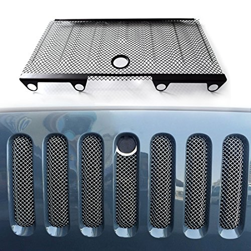 IPARTS New Front Mesh Grille Grill Grid Inserts Insect Net For Jeep Wrangler 2007-2015 Rubicon Sahara Sport JK JKU (with Key Hood Lock)