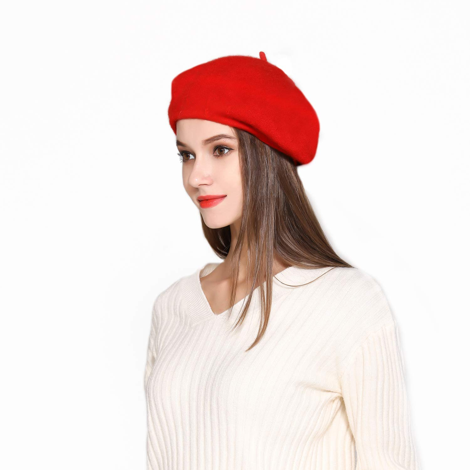 Jeicy Wool Beret Hat Solid Color French Artist Beret Silky Scarf ... 26a239092aa